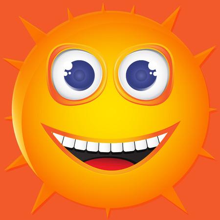 Illustration funny sun smile. Vector Vector