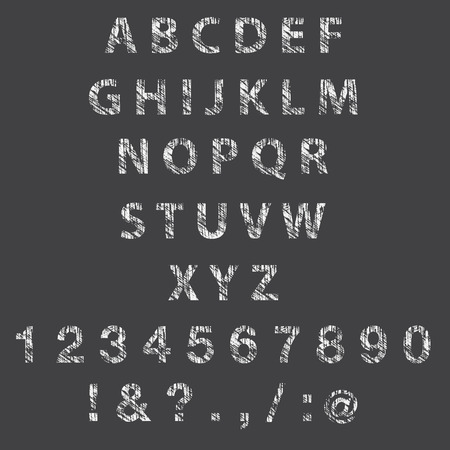 Sketch textured font. Vector Illustration