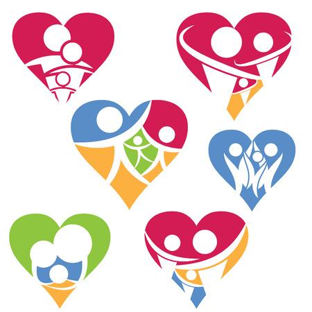Conjunto de icono de la familia feliz en el corazón .Vector Foto de archivo - 35998368