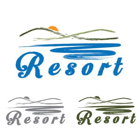 ridge: sketch hills and sea ,emblem of resort