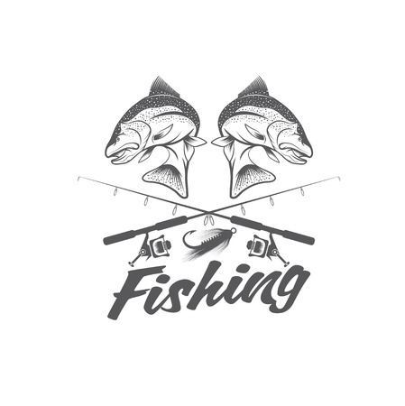 jumping carp: vintage fishing vector design template
