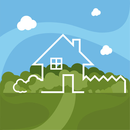 dwelling: Illustration of cartoon house with garden. Vector