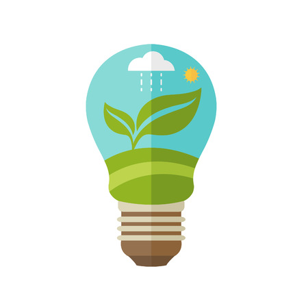 car leaf: Illustrations concept  of lamp with icons of ecology, environment, green energy. Vector