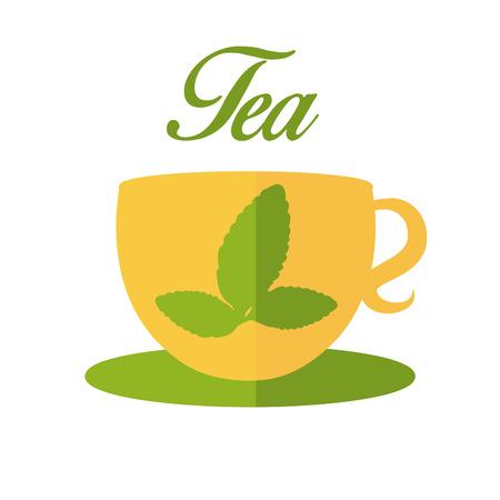 tae: Ilustraci�n de la taza con t� de hojas. vector Vectores
