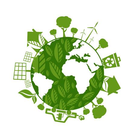 エコロジー、環境、グリーン エネルギーのアイコンと共にコンセプト地球のイラスト。ベクトル