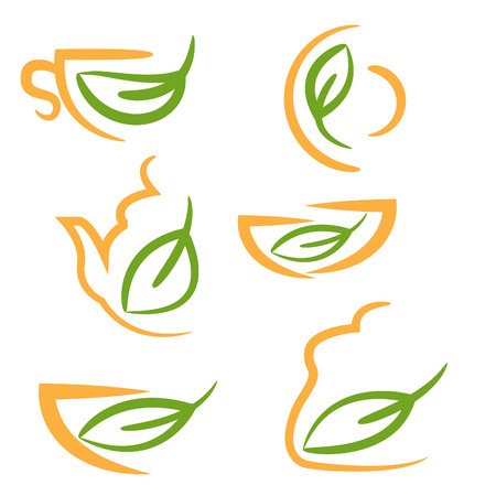 Abstract illustration set icons of kitchen cookware. Vector Vector  sc 1 st  123RF.com & Soup Menu Vector Design Template With Leaf And Bowl Royalty Free ...