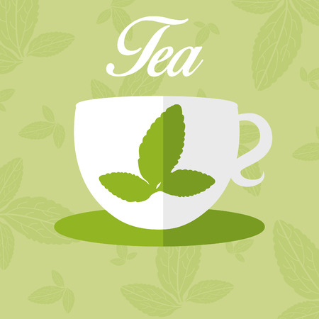 substitute: Illustration of cup with leaf tea. vector Illustration
