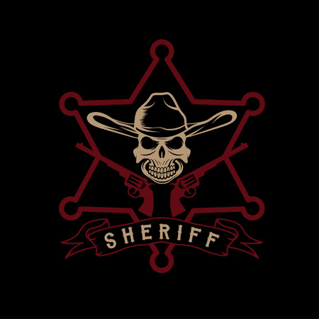 star of sheriff with skull in hat and guns Vector