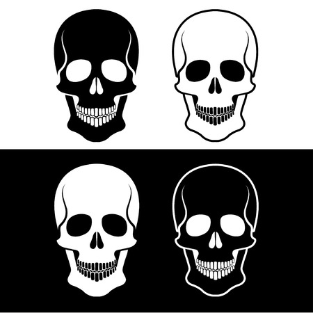 human bone: set of skulls vector design template