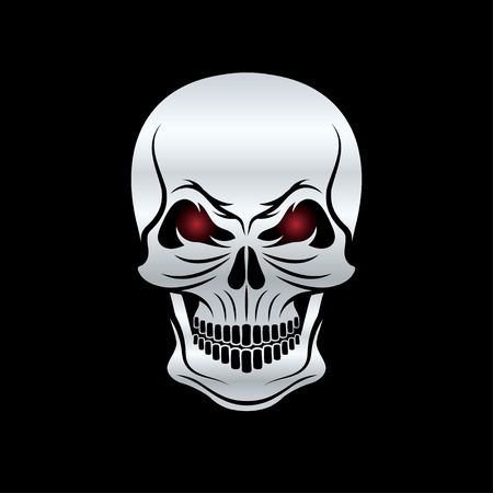 red eyes: silver skull with red eyes on black background Illustration