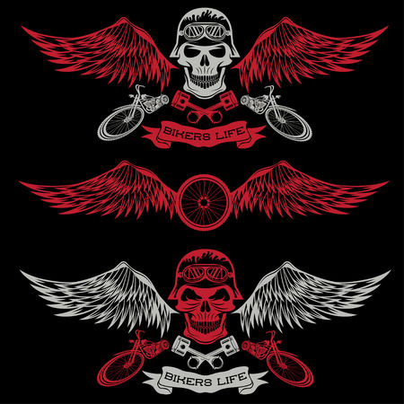 spurt: biker theme labels with wheel,bike and skulls with wings Illustration