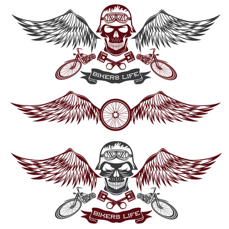 biker theme labels with wheel,bike and skulls with wings Vector