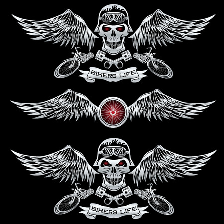 motorcycles: biker theme labels with wheel,bike and skulls with wings Illustration