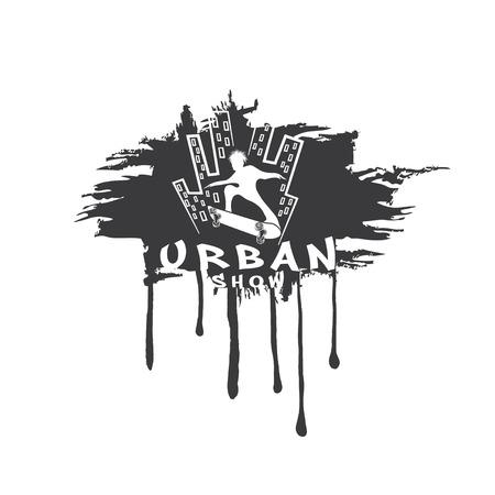 grind: skateboarder make trick on the background of city