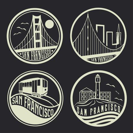 샌프란시스코 빈티지 레이블의 상징적 인 집합