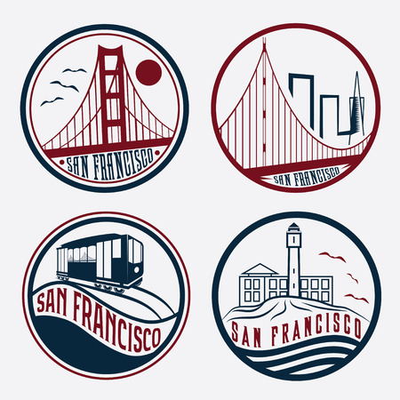 bezienswaardigheden van San Francisco vintage labels set Stock Illustratie