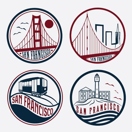 Punti di riferimento di San Francisco Vintage etichette set Archivio Fotografico - 36314395