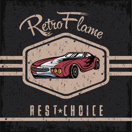 motor show: retro sport car old vintage grunge poster