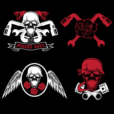biker theme labels with pistons,flowers,wings,snakes and skulls Vector