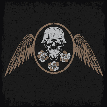 grunge biker theme label with flowers,wings and skull Vector