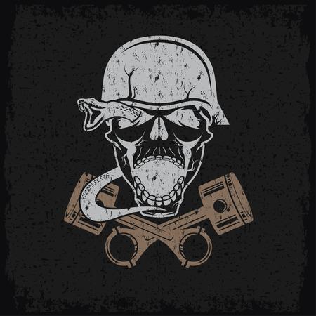 spurt: grunge biker theme label with pistons snake and skulls Illustration