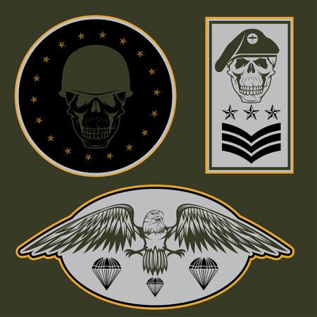 airborne: Special unit military emblem set vector design template