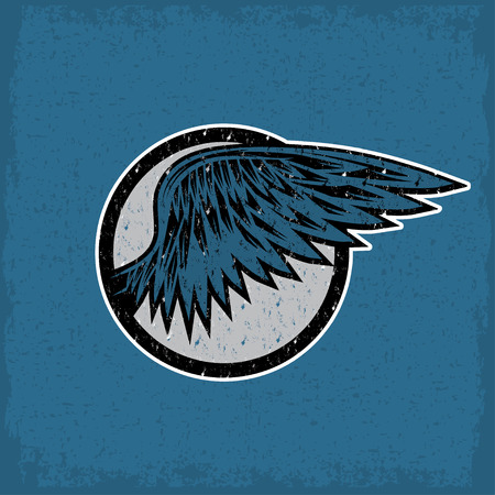 bird wings: grunge vintage sport label with wings Illustration