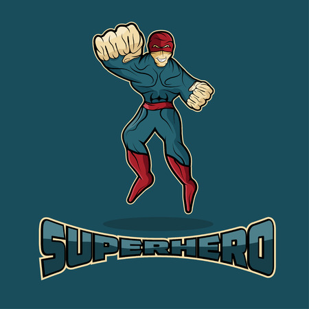 superhero in action vector design template royalty free cliparts