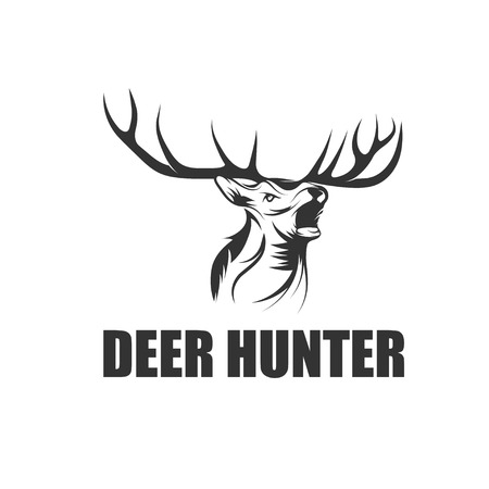 deer hunter vector ontwerpsjabloon Stock Illustratie
