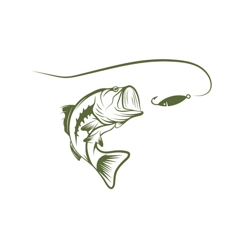 bass and lure vector design template Vector