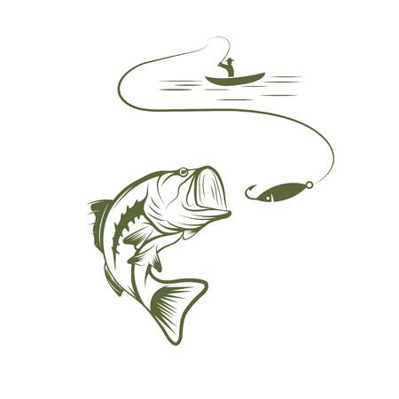 Ilustración de pescador en un barco y el bajo bocazas Foto de archivo - 36831824