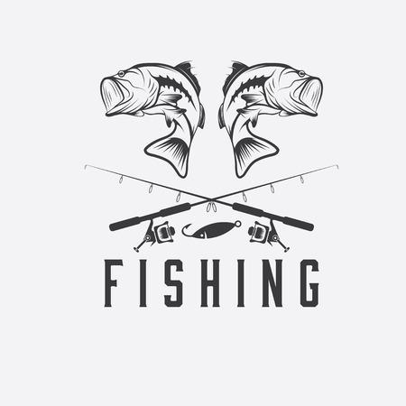 pescando: vector de la pesca del vintage plantilla de dise�o Vectores