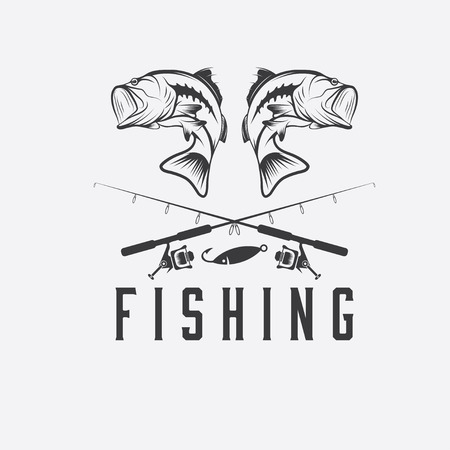 freshwater fish: vintage fishing vector design template