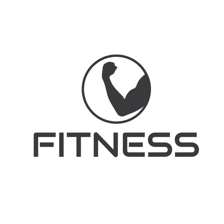 sexy muscular man: fitness emblem with muscle Illustration