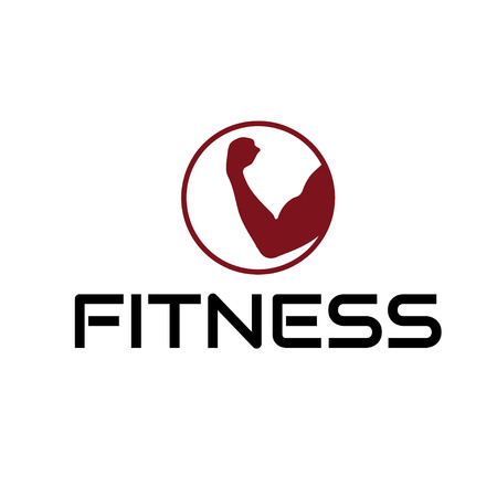 discs: fitness emblem with muscle Illustration