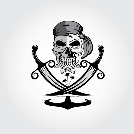 privateer: pirate skull with swords,anchor and palms Illustration
