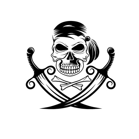 privateer: pirate skull with swords and bones
