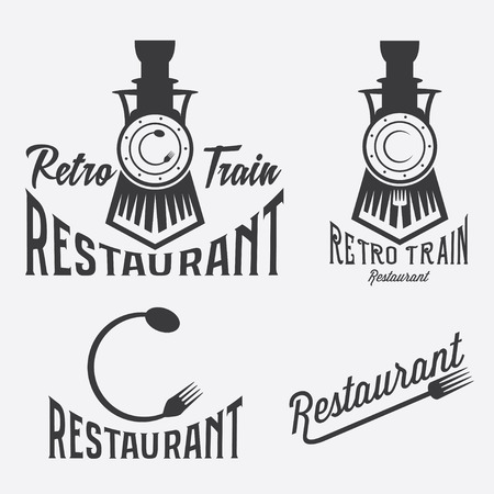 vintage set of retro train restaurant Illustration