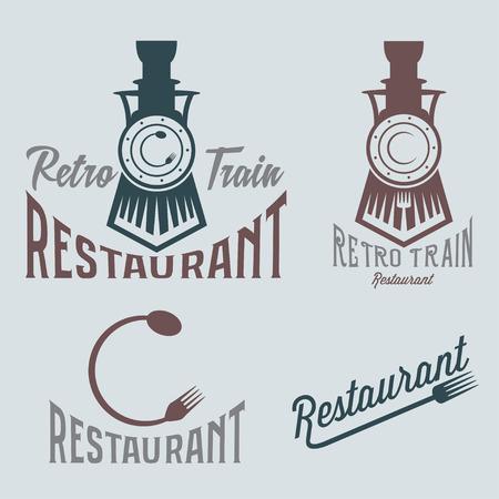 vintage set of retro train restaurant Illustration