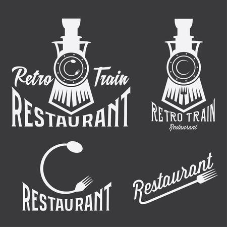 vintage conjunto de restaurante retro tren