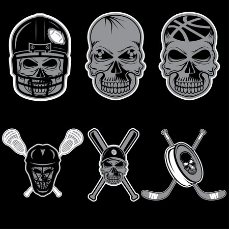 major league: set of sports team labels with skull Illustration