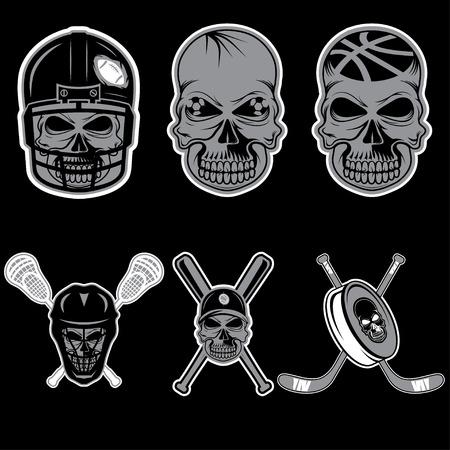 sport team: set van sport team etiketten met schedel Stock Illustratie