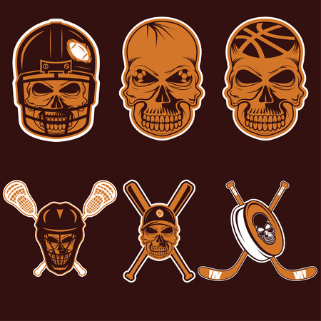 sports team: set of sports team labels with skull Illustration