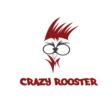 head of crazy rooster Illustration