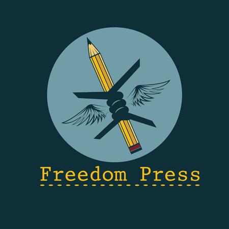 libertad: la libertad de prensa concepto plantilla vector