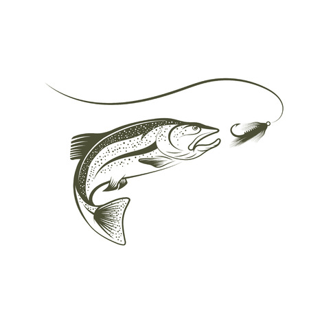 jumping salmon and lure Illustration