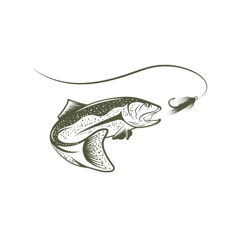 lure: trout and lure vector design template