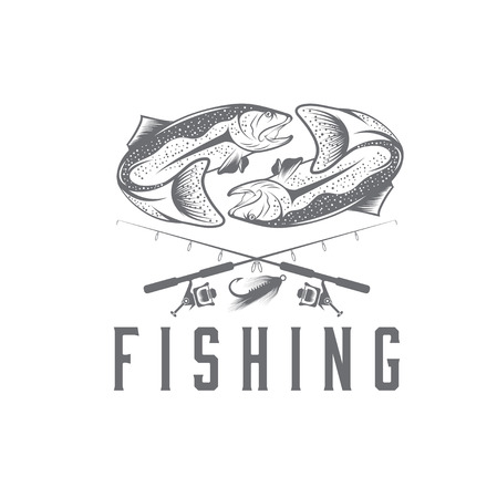 largemouth: vintage fishing vector design template