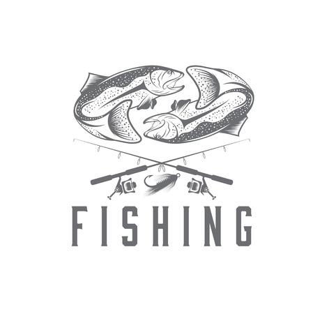 largemouth bass: vintage fishing vector design template