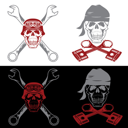 spurt: biker theme labels with skull ,wrenches and pistons